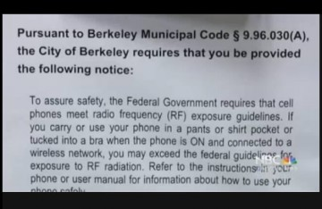 Cell Phone Radiation Warning Sign Berkeley